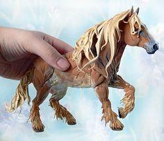 Draft Horse Skulpture Figurine Art Fantasy by DemiurgusDreams, $180.00 Handmade item Materials: clay, velvet clay, acrylic