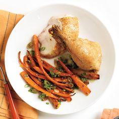 Rosemary Roast Chicken and Orange-Scallion Carrots