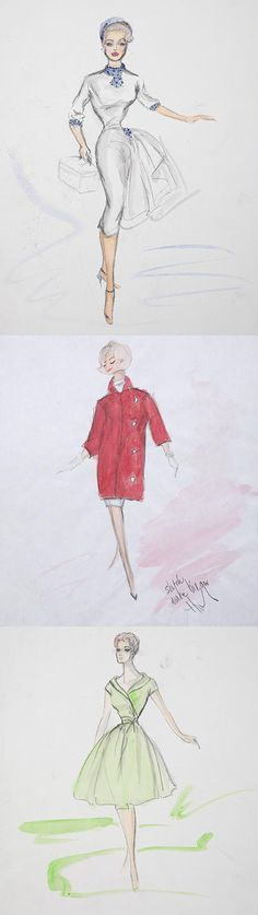 Edith Head sketches for 3 unknown actresses.