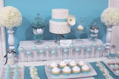 Blue dessert table... This table but w/o the cake...