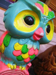color owl, handmad gift, owl art, diy gift, blue green, neon green, handmade gifts, owls, bright colors