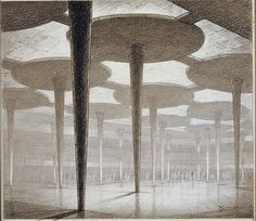 Hugh Ferriss of the interior of the Johnson Wax Administration Building in Racine (Wisconsin) was made circa 1941. This structure, designed by Frank Lloyd Wright, is a futuristic premises come true.