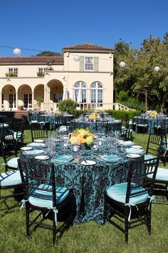 Teal & Orange wedding reception. Chateau St Jean, Sonoma  Fleurs de France  www.fleursfrance.com