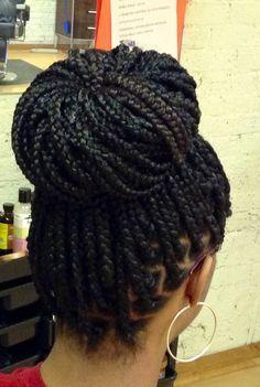 Box braids bun style