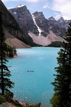 That's us in the canoe.  How beautiful is this place?  Moraine Lake in Canada.