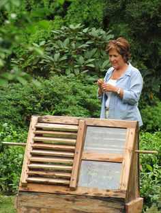 "Lynda Bellingham with the world's only surviving travelling greenhouse -""The Wardian Case"" - in the Tregothnan gardens"