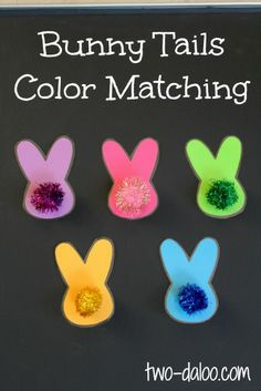 Bunny tails color matching game with magnetic pompoms from Twodaloo (two-daloo.com)