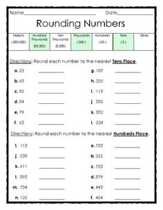 FREE - Rounding Numbers to the Tens and Hundreds Places - 1 page