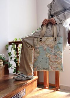 blue world map print large diaper bag/  large tote by leyyabags, $45.00