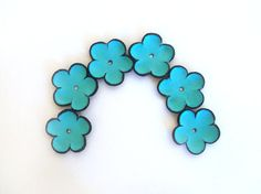 Blue cabochon flowers Leather flowers by HMCreativeSupplies, $5.99