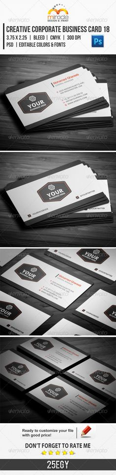 Creative Corporate Business Card 18  #GraphicRiver        Creative Corporate Business Card 18  Creative and clean Business Card used for all purpose. editable text layers or colors shape layers in easy way . Features :  › 2 PSD file . › 2 side artwork . › Organized Layers . › Horizontal Style . › CMYK Color Mode . › Rounded Corners option. › Squared Corners option . › 300 dpi . › Easy to customize color & Edit text . › 3.75×2.25 with Trim & bleed area . › Clean design . › Print ready .  Contents :  › 2 PSD file contain 2 side . › Information txt file .  Fonts :   Free font used ( Harabara ) download it from here Download Harabara free font  Free font used ( Open sans ) download it from here Download Open sans free font  You can get yourQR-Code from this link : QR Code and 2D Code Generator  Finally Thank You For Purchasing my Product. and Don´t Forget To Rate my product if it deserve .     Created: 11October13 GraphicsFilesIncluded: PhotoshopPSD Layered: Yes MinimumAdobeCSVersion: CS PrintDimensions: 3.75x2.25 Tags: 2Side #300dpi #EasyCustomize #bleedarea #business #card #clean #cmyk #colormode #corporate #creative #design #edittext #file #gray #horizontal #modern #printready #psd #red #stylish #trim #white