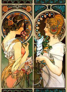 This! On two different frames! I love Art Nouveau. Alphonse Mucha Art Nouveau Two Ladies Colorful