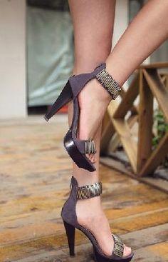 Dark Gray Back Zipper Peep Toe High-heeled Sandals