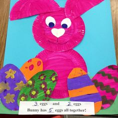 math centers, kindergarten basic, basic addit, easter crafts, math activities, easter eggs, easter bunny, paper plates, math skills