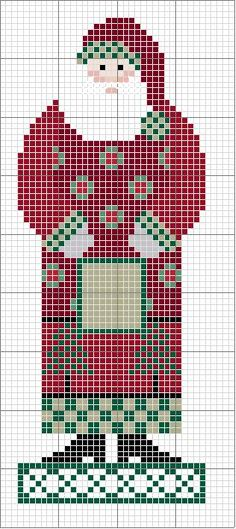 Free Cross Stitch Pattern: Country Santa with Christmas trees and wreaths on coat