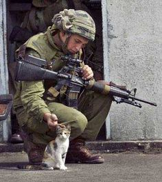 Soldier and kitty