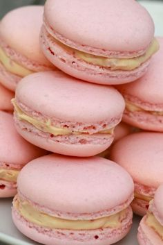 Macaroon recipes and instructions...recipes for raspberry with marscapone; lemon butter cream; earl gray flavored with orange buttercream filling; chocolate nutella; strawberry