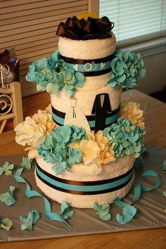 cute bath towel cake-bridal shower gift ideas