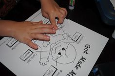"""God Made Me Printable. Teaching kids about their body parts (Ears, Eyes, Hands, Feet, Mouth, Heart) and what God desires for us to do with each part of the body. Has verses to look up in the bible that discuss these different parts of the body. (you have to scroll down to """"Thursday"""" on the linked page to get to the verses)"""