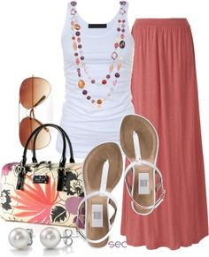 Clothes Casual Outift for • teens • movies • girls • women •. summer • fall • spring • winter • outfit ideas • dates • parties Polyvore :) Catalina Christiano Maxi skirts, peach, sandals