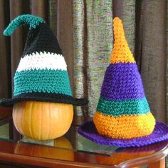 Turn this crochet pattern into Halloween decor or a homemade Halloween costume. It's up to you with these Perfect Little Pumpkin Hats.   AllFreeCrochet.com