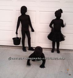 These are SO cool!! Kids dressed as SHADOWS for Halloween - their mother bought black morph suits for them then layered black clothes over those. She says, This might be the easiest costume on earth. And from all of my costumes over the years, this one got the very best reaction.