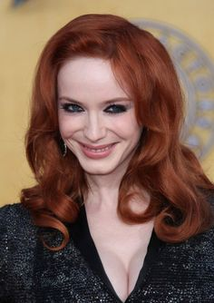 Christina Hendricks wavy, red hairstyle