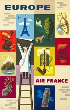 Jean Carlu, Air France - Europe posters, ca. 1950.