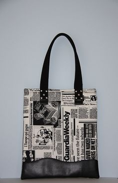 newspaper print large diaper bag/ black white large by leyyabags, $40.00
