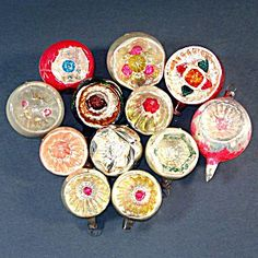 12 German Blown Glass 1930s Indent Christmas Ornaments