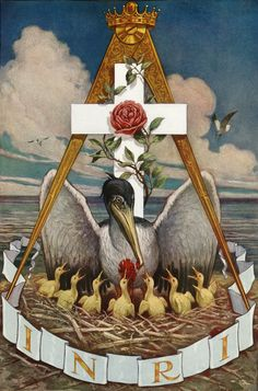 Masonic Pelican: A symbol of the renewal of life through the spiritual food of the God Head or Holy Spirit.