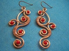 Copper wire work earrings with coral. Gorgeous!