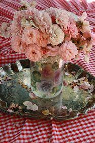 Flower vase on silver tray