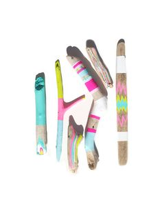 Driftwood Art - 6 Piece Collection of Painted Sticks - Neon, Pastel, Chevron, Triangles, Pattern, Ikat, Color Block - Stripes, Beach Decor