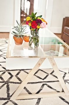 Coffee table with acrylic top | A Beautiful Mess