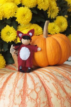 Waldorf fox dressed bendy doll gnome
