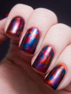Chalkboard Nails: Jewel Tone Abstract Brush Strokes - OPI Germany Nail Art