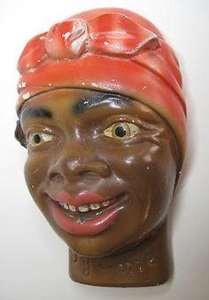 Black African Americana RARE Vintage Antique Chalkware String Holder | eBay