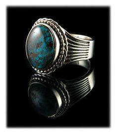 High Grade Bisbee Turquoise Ring For Men by John Hartman