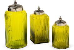 Grace Home Furnishings Lime Glass Jars, Set of 3 on OneKingsLane.com