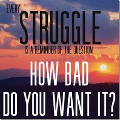 every struggle is a reminder of the question, how bad do you want it?