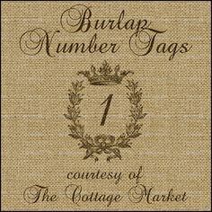 Free Burlap Number Tags AND Letter Tags Download for your DIY projects - by The Cottage Market