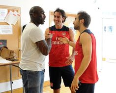 Sol Campbell, Robert Pires and Mathiew Flamini at Arsenal's training session