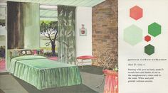 "Green Color Scheme from the Mid Century decorating book ""Window Decorating Made Easy by Kirsch"","