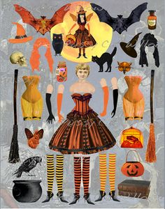 Items similar to Hallow-Ena - Queen of Halloween Paper Art Doll Instant Download on Etsy