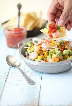 Fresh shrimp ceviche bursting with flavor! Citrus marinated shrimp, avocado, tomatoes and onion served with extra salsa and crunchy tortilla chips.