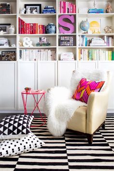 Classic! The geometric patterns and bright pops of color are so fun #blackandwhite #neon