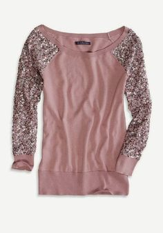 American Eagle Sequin Sleeve sweater