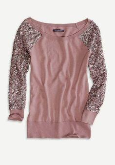 AE Sequin Sleeve Crew Sweater