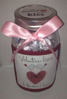Hershey's Chocolate Kisses in a Jar Valentines Day Gift  on Etsy, $15.00